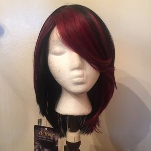 It Tress* Synthetic Full Wig Bob  w/Red Highlights
